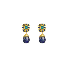 Misty Earrings Aqua Jade & Lapis