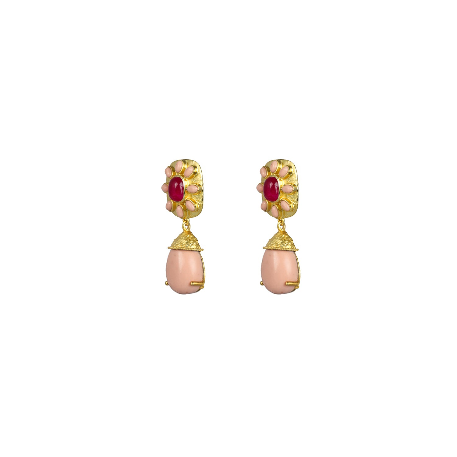 Misty Earrings Pink Jade & Pink Coral
