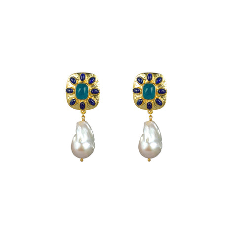 Misty Earrings Lapis, Aqua Jade & Pearl PRE-ORDER