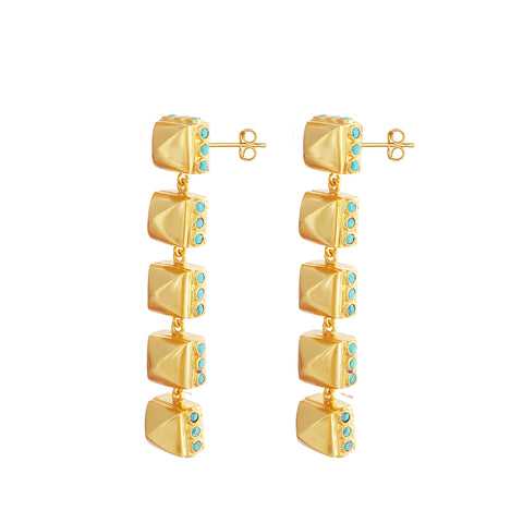 Cher Earrings in Gold Stone