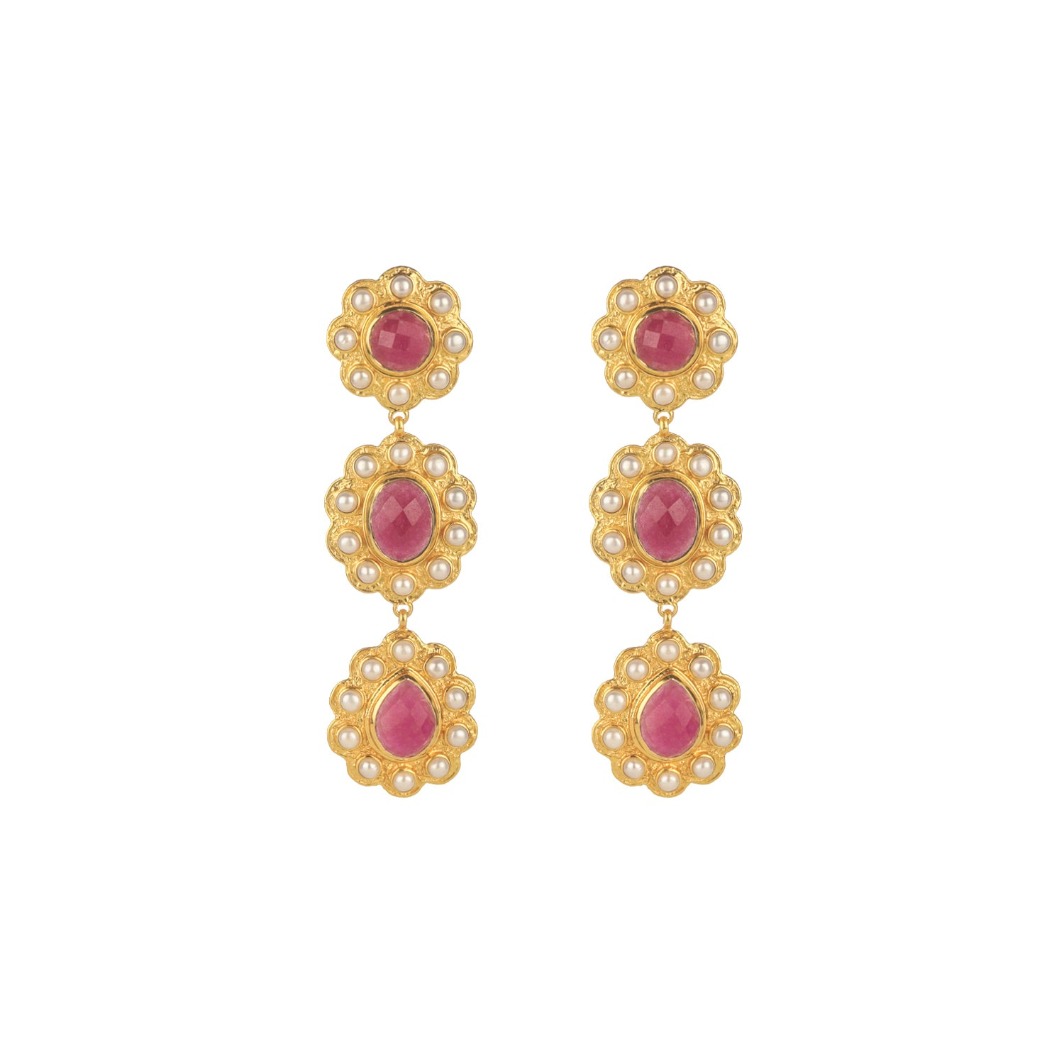 Lola Earrings Pink Agate & Pearl