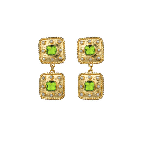 Aurora Earrings Peridot Quartz & Freshwater Pearls
