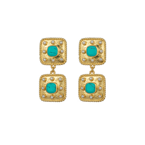 Aurora Earrings Turquoise & Freshwater Pearls