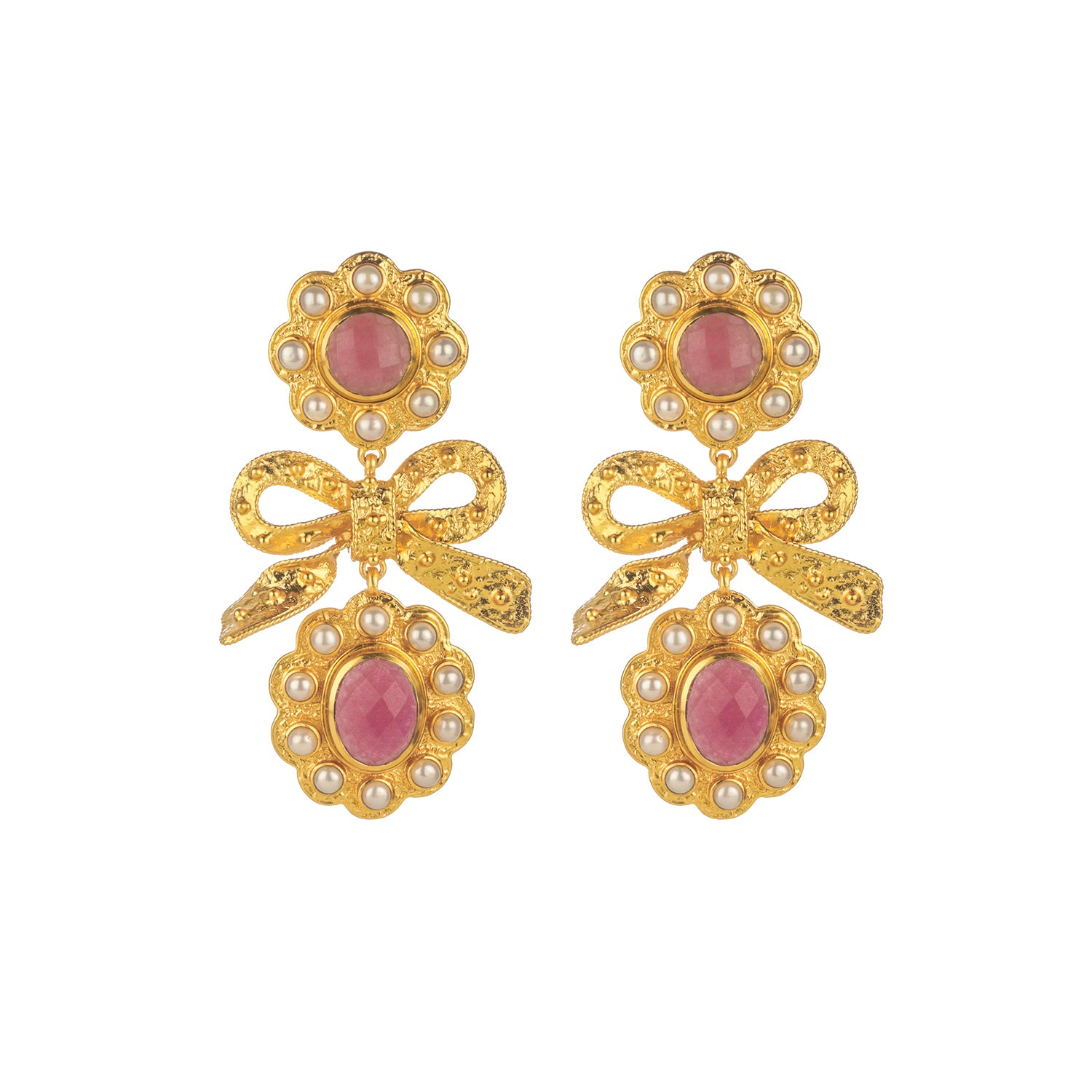 Camille Earrings Pink Agate & Pearl (Pre-Order)