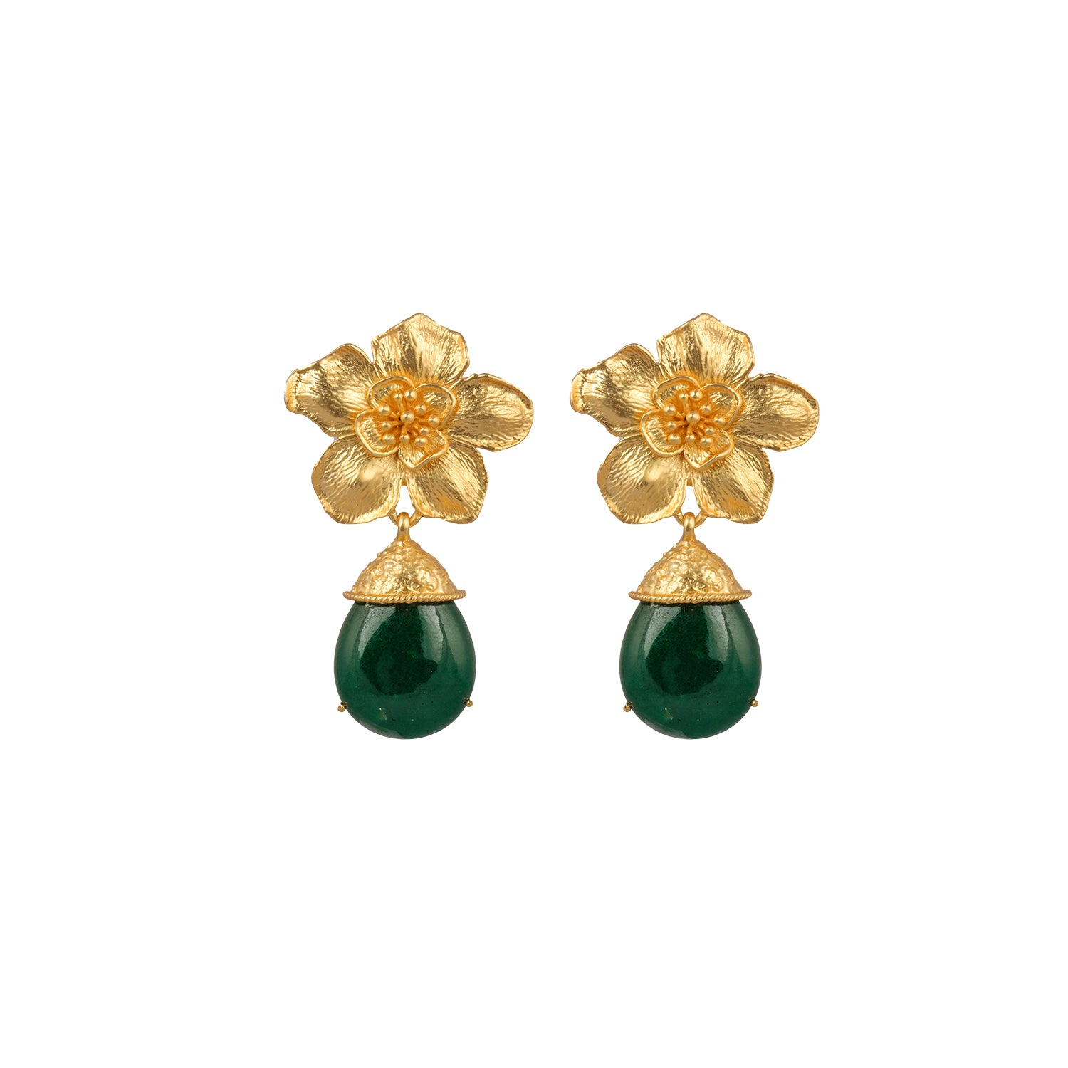 Cassia Earrings Green Jade