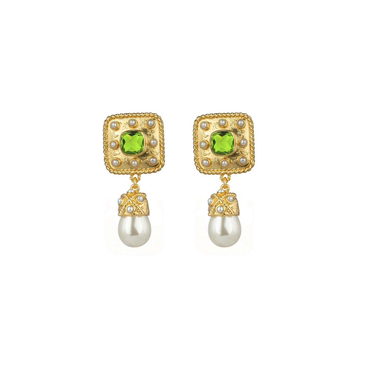 Anona Earrings Peridot Quartz & Freshwater Pearls