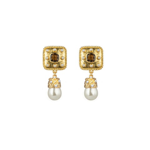 Anona Earrings Smoky Quartz & Freshwater Pearls