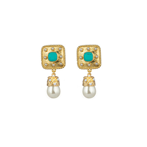 Anona Earrings Turquoise & Freshwater Pearls