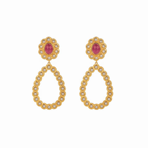 Pamela Earrings Pink Agate & Pearl