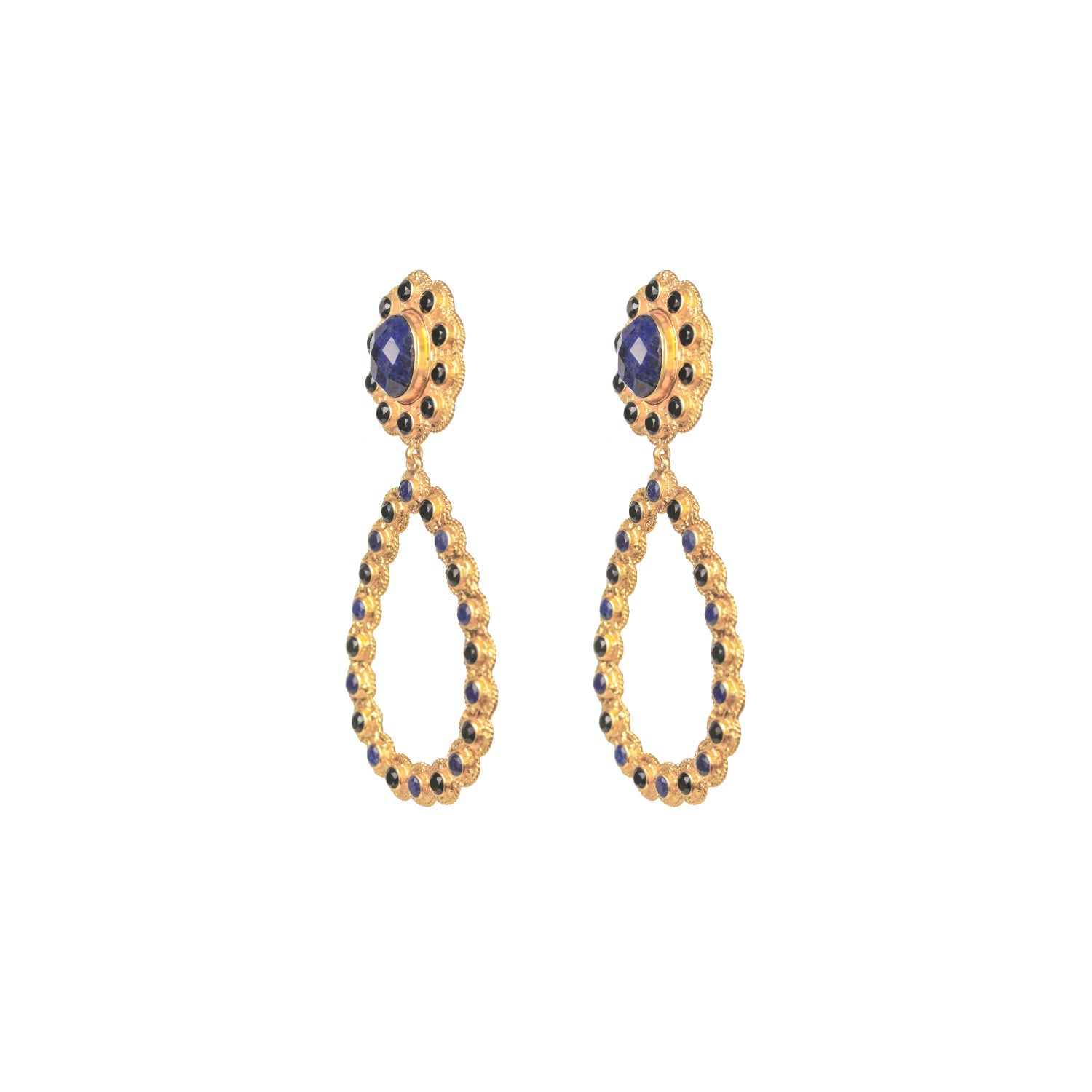 Pamela Earrings Sodalite & Black Onyx