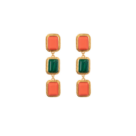 Pier Earrings Coral & Malachite (Pre-Order)