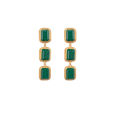 Pier Earrings Malachite
