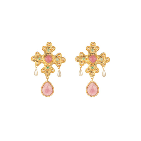 Nicolette Earrings Pink Agate, Amazonite & Pearl