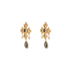 Nicolette Earrings Sodalite, Black Onyx & Pearl