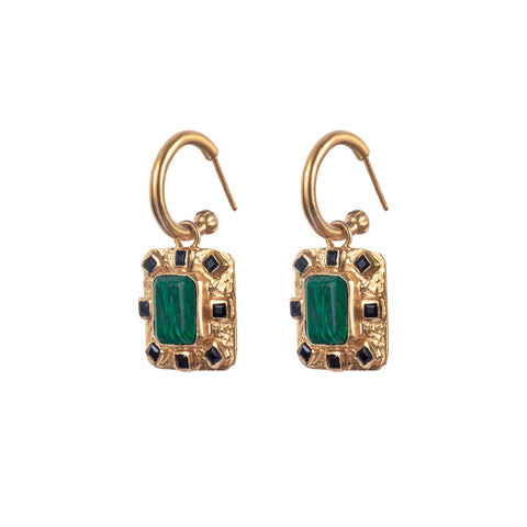 Adrift Earrings Malachite & Black Onyx