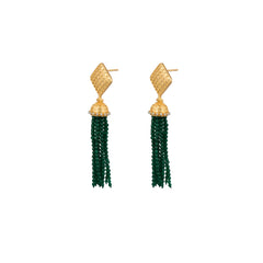 Primrose Earrings Pearls & Green Jade