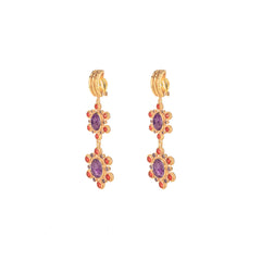 Mademoiselle Earrings Amethyst and Pink Agate