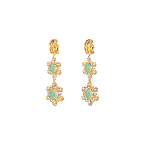 Mademoiselle Earrings Amazonite & Pearl