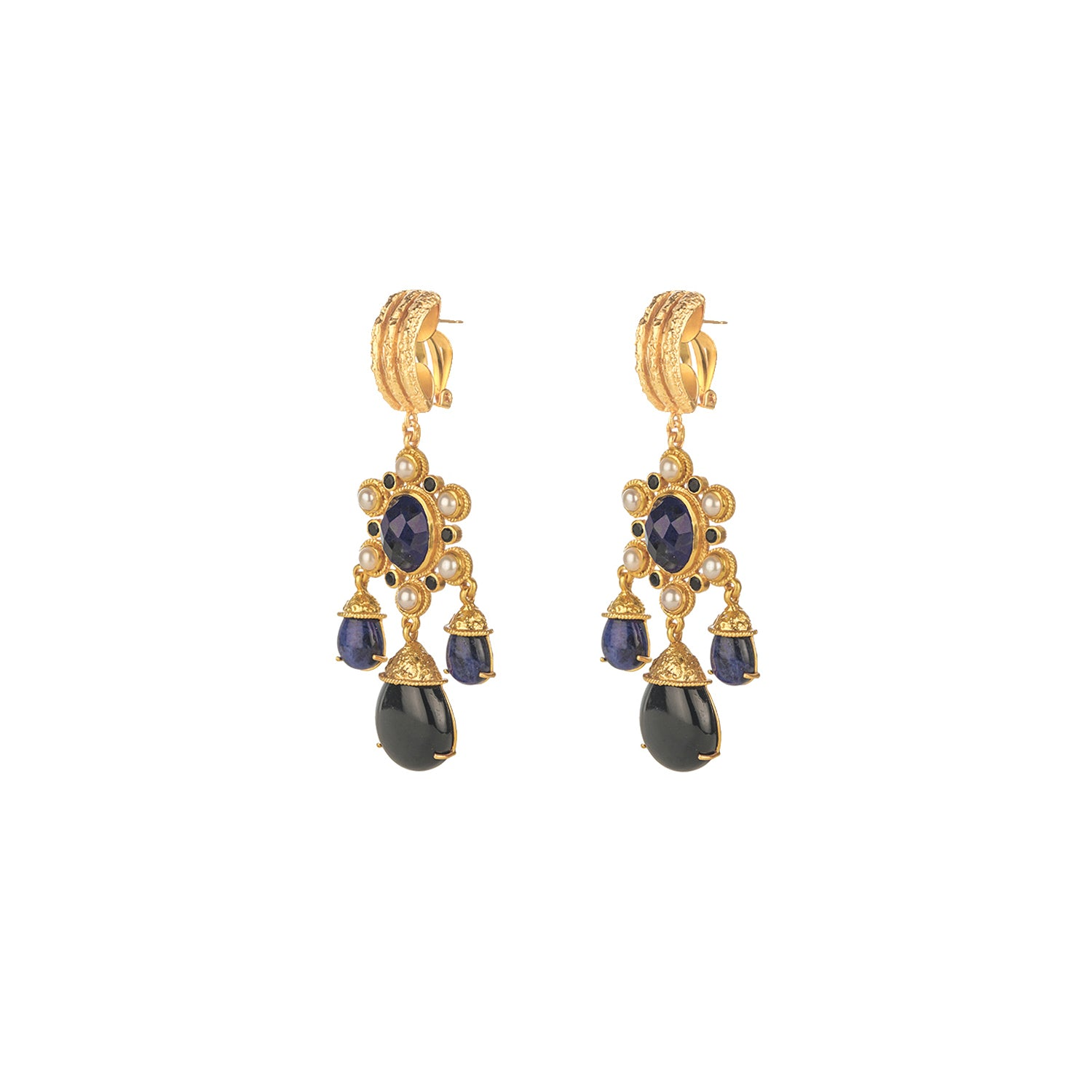 Gypsy Earrings Sodalite, Black Onyx & Pearl