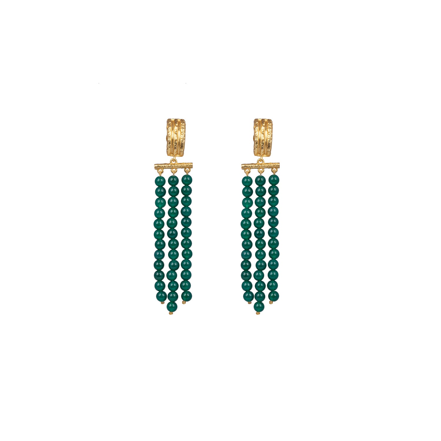 Midori Earrings Dark Green Jade