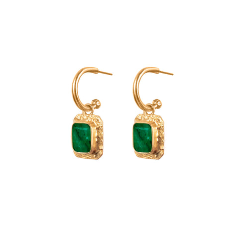 Breeze Earrings Dark Green Jade