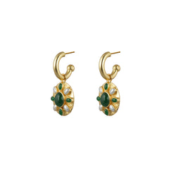 Zinni Earrings Dark Green Jade & Pearls