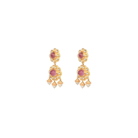 Destiny Earrings Pink Agate & Pearls