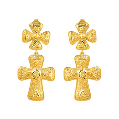 Claudia Earrings - 24k Yellow Gold Stone (PRE-ORDER)