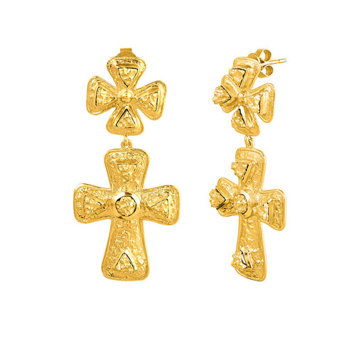 Claudia Earrings - 24k Yellow Gold Stone