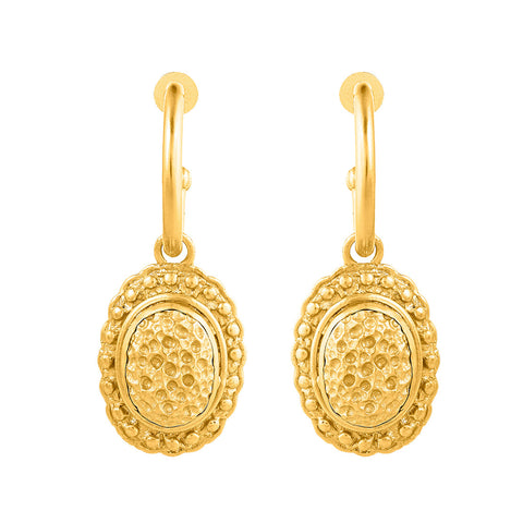 Angelina Earrings - 24K Yellow Gold Stone