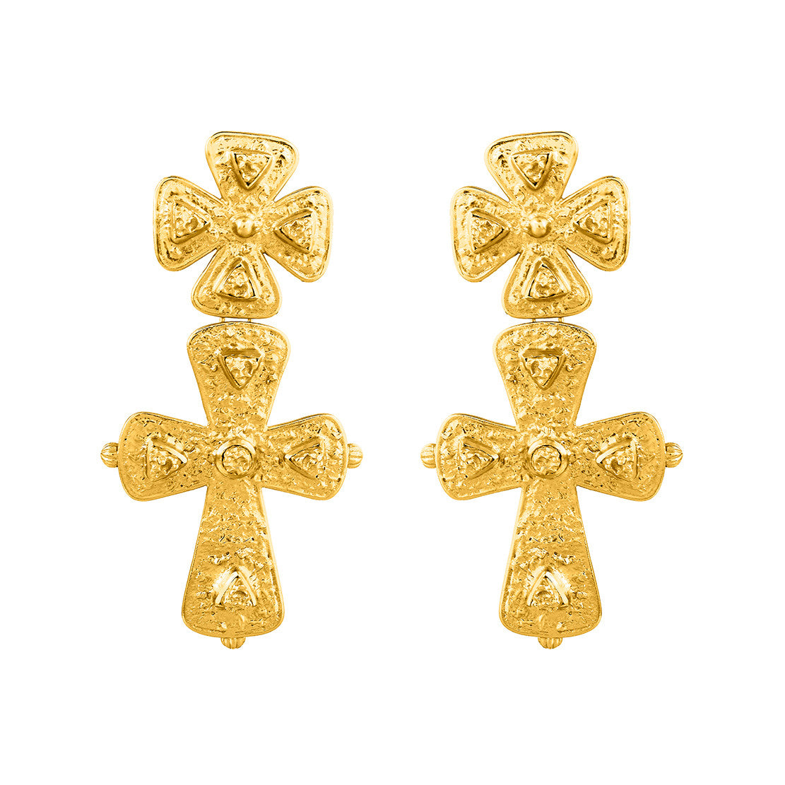 Donatella Earrings - 24K Yellow Gold Stone (Pre-Order)