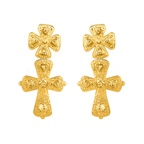 Donatella Earrings - 24K Yellow Gold Stone