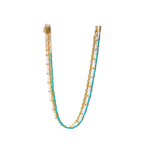 Dani Necklace Turquoise & Pearls (3 Necklaces in 1)