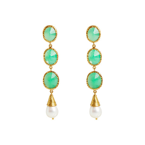 Mariah Earrings in Mint Chrysoprase