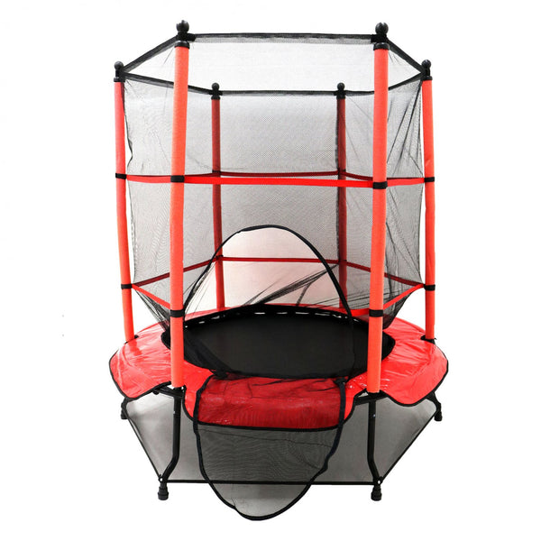 Kids Trampoline with Safety Net and Red Cover Garden Outdoor - 16686