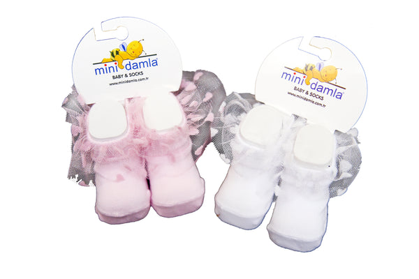 TURKEY BABY GIRL SOCKS BOOTIES FRILL - 19154