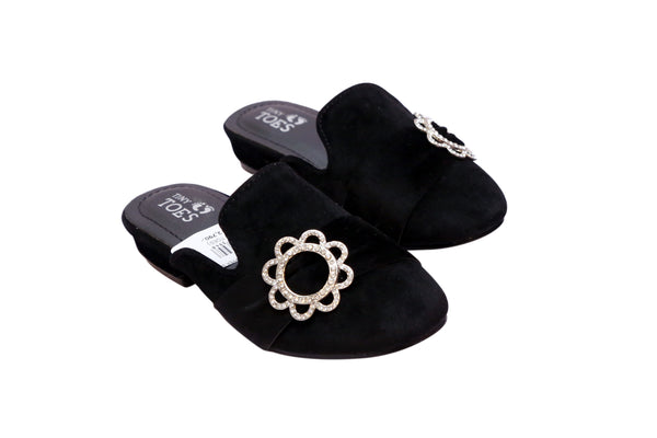 MEDIUM GIRL SLIPPER BLACK/GREY - 19394