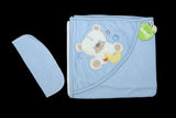 TURKEY BABY BATH TOWEL WITH WASH MITTEN BEAR 2CLR - 20686