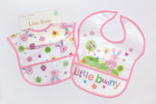 BABY PLASTIC BIB SMALL POCKET PACK2 - 21292