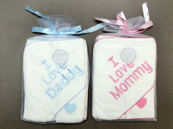 HOODED TOWEL WITH FACE TOWEL I LOVE MOM DAD - 21718