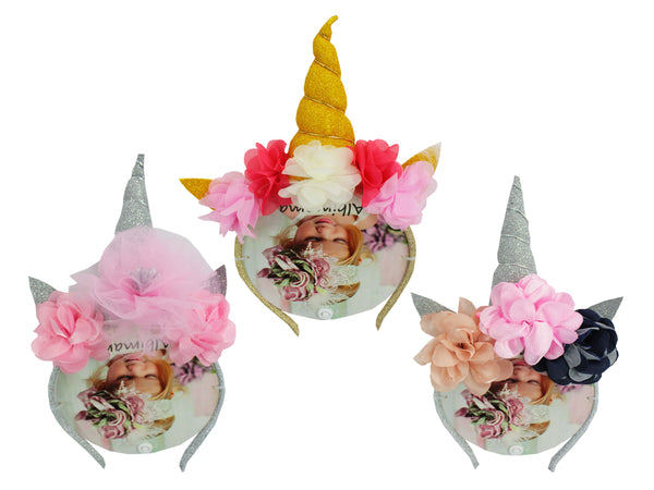 BABY GIRL HAIR BAND UNICORN CROWN - 22090