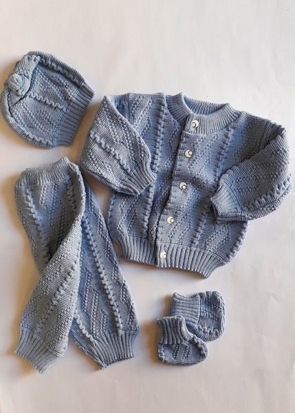 BABY WOOLEN SUIT ROUND NECK 4 PCS - 22111