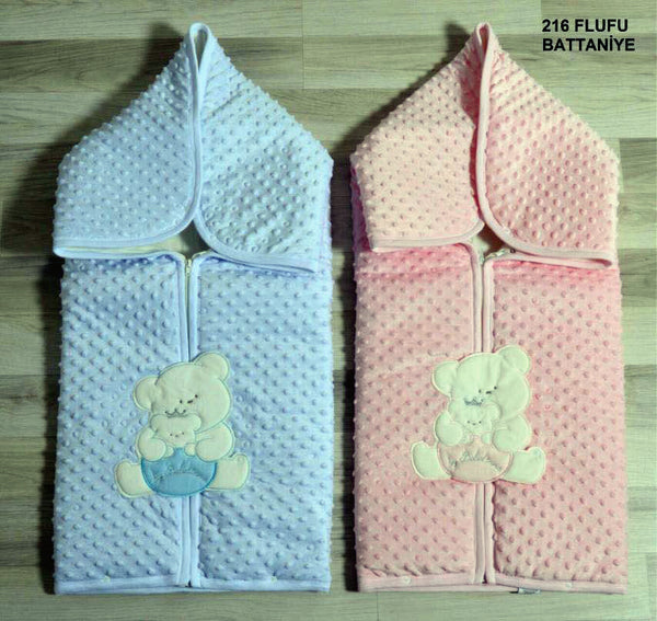 BABY PLUSH SWADDLE BLANKET 2 IN ONE - 22351