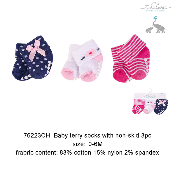 BABY TERRY SOCKS WITH NON-SKID 3PC - 22857