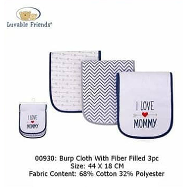 BURP CLOTH W/FIBER FILLED 3PCS - 22859