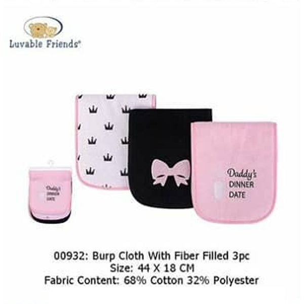 BURP CLOTH W/FIBER FILLED 3PCS - 22861
