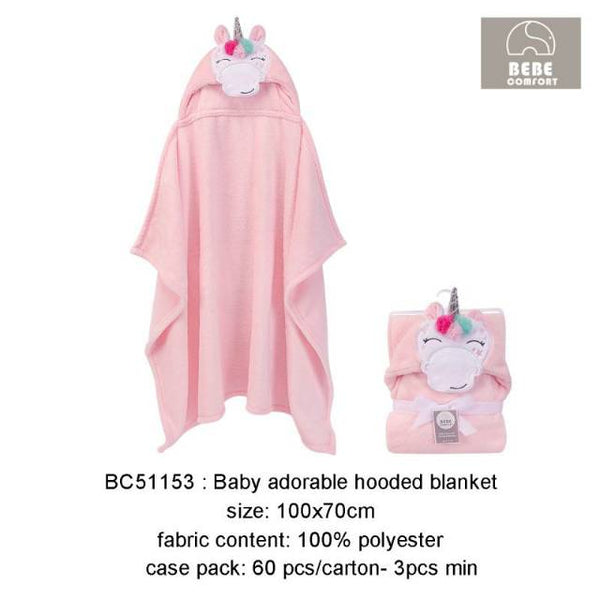 BABY ADORABLE HOODED BLANKET - 22886