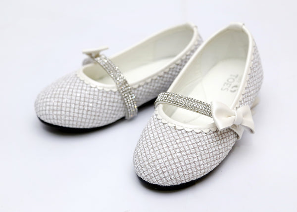 GIRL MEDIUM PUMPS WHITE/SILVER 26-31 - 23197