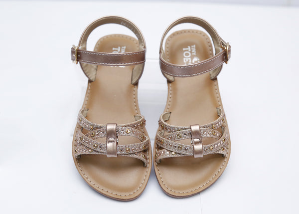 GIRL MEDIUM SANDAL CHAMPAIGN/SILVER 26-31 - 23201