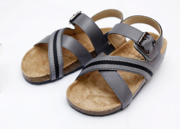 BOY MEDIUM SANDAL GREY/D.BROWN 26-31 - 23208